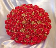ARTIFICIAL WEDDING FLOWERS RED GOLD FOAM ROSE BRIDE WEDDING BOUQUET POSIE